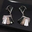 Luxcoco水晶耳钉耳饰38747耳钉式, 平面/立体几何图形精品 扇形 长方形