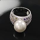 韩国进口珍珠锆石戒指39426平面/立体几何图形精品 珠子 圆形