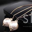 韩国仿珍珠耳坠39571钩形, 平面/立体几何图形珠子 圆形