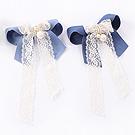 蓝色蝴蝶结蕾丝带发夹
