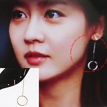 成宥利同款耳饰 43266耳钉式, 平面/立体几何图形明星款 成宥利 后挂式 长方形 圆环 不对称