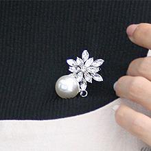 45277植物, 平面/立体几何图形花 珠子 圆形 胸针