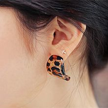 48408耳钉式, 平面/立体几何图形豹纹 长方形