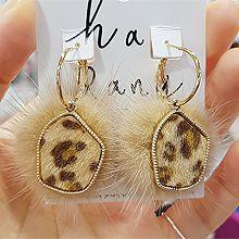 48446耳圈耳扣, 平面/立体几何图形豹纹 多边形