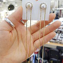48454耳钉式, 平面/立体几何图形圆形 长款 珠子