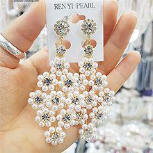48489耳钉式, 植物, 平面/立体几何图形花 圆形 菱形 珠子