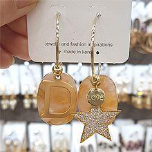 48544耳圈耳扣, 天体自然现象, 字母数字/符号字母 D 星星 椭圆形 不对称