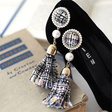 48591耳钉式圆形 珠子 方格 流苏 条纹 编织