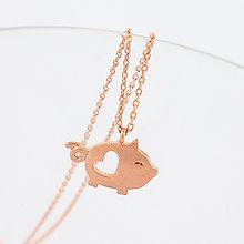 48520锁链形, 单层链, 心形, 动物猪 整件925银 心形