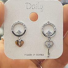 48676耳钉式, 心形, 锁具圆形 心形 钥匙 不对称