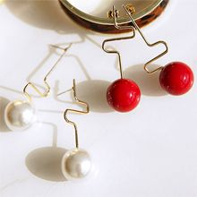 48682耳钉式曲折 珠子 不对称