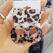 48803耳钉式, 平面/立体几何图形正方形 圆形 豹纹