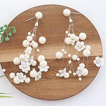 48820耳钉式, 植物, 平面/立体几何图形花 圆形 珠子 流苏