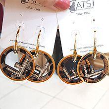 48828耳圈耳扣, 字母数字/符号字母F 圆形 豹纹 毛毛