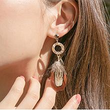 48841耳钉式, 平面/立体几何图形圆形 羽毛