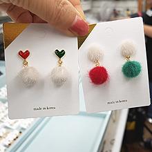 48849耳钉式, 心形, 植物心形 松树 毛球 圆形 不对称 圣诞