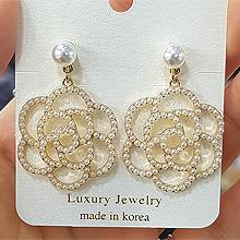 48857耳钉式, 心形, 植物, 锁具花 珠子 钥匙 心形 不对称  锁