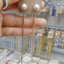 48945耳钉式, 平面/立体几何图形圆形 珠子 长款 后挂式