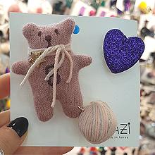 48954耳钉式, 蝴蝶结, 心形, 字母数字/符号, 动物熊 心形 字母 毛线球 胸针 蝴蝶结