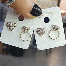 48966耳钉式圆环 不对称 钻石形