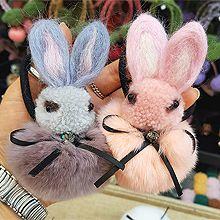 48790发圈发绳, 蝴蝶结, 动物兔子 蝴蝶结 毛球