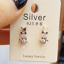 48994耳钉式, 动物, 平面/立体几何图形圆形 狐狸