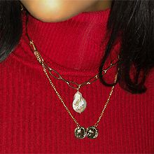 48998锁链形, 多层链, 人物人体两件套 圆形 人 水滴形