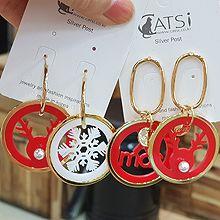 49001耳钉式, 耳圈耳扣, 字母数字/符号, 动物椭圆形 字母 圣诞 麋鹿 珠子 不对称