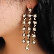 49013耳钉式珠子 圆形 流苏