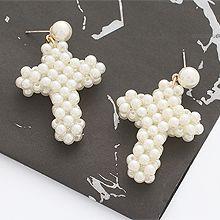 49038耳钉式, 十字架, 平面/立体几何图形十字架 圆形 珠子