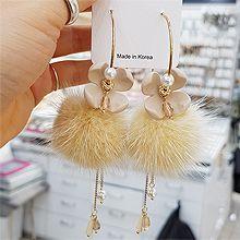49080耳圈耳扣, 植物, 平面/立体几何图形花 毛球 圆形 珠子