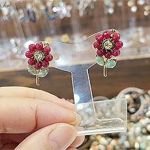 49136耳钉式, 植物, 平面/立体几何图形花 圆形 珠子 叶子