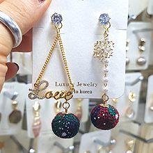 49151耳钉式圣诞 雪花 字母 不对称 珠子 三角形 圆球