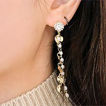 49201耳钉式, 植物, 平面/立体几何图形珠子 圆形 花