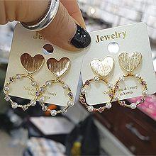 49209耳钉式, 心形心形 圆环 珠子