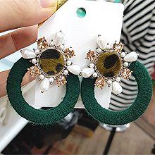 49212耳钉式, 植物圆环 编织 水滴形 毛毛 豹纹 珠子