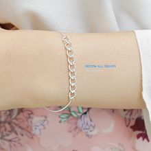 47208锁链形, 单层链整件925银 圆环
