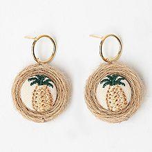 47418耳钉式, 植物菠萝 编织 圆环