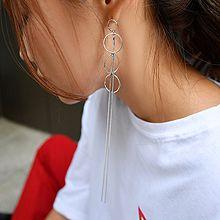 47550耳钉式, 平面/立体几何图形圆环 流苏 不对称 长款
