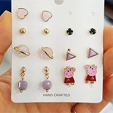 47611耳钉式, 心形, 动物, 平面/立体几何图形心形 小猪佩奇 正方形 珠子 圆形 三角形 宇宙 十四件套