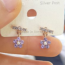 47621耳钉式, 植物长方形 花  珠子