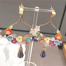 47778耳钉式花 水滴形 珠子 正方形