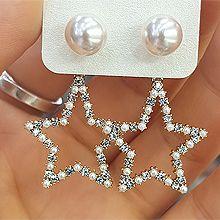 47846耳钉式, 天体自然现象珠子 后挂式 星星