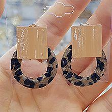 47938耳钉式, 平面/立体几何图形豹纹 正方形 圆环