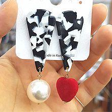 47947耳钉式, 心形水滴形 心形 珠子 不对称