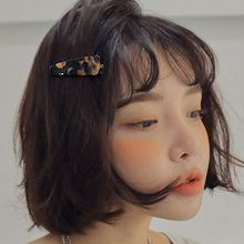 韩国代购亚克力豹纹鸭嘴夹48011边夹顶夹豹纹 水滴形