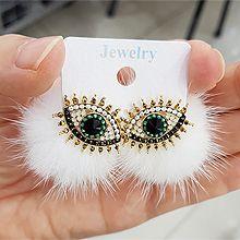 48016耳钉式, 人物人体, 平面/立体几何图形毛球 圆形 珠子 眼睛