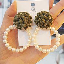 48018耳钉式, 植物, 平面/立体几何图形圆形 珠子 花