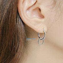 纯银双环耳环48024耳钉式, 平面/立体几何图形圆形 圆环 整件925银