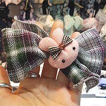 毛线兔子蝴蝶结发绳48070发圈发绳, 蝴蝶结, 动物蝴蝶结 兔子 方格